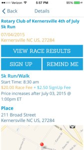 Mobile Race Page