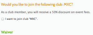Join a Club during Race Registration