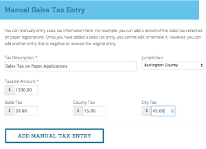 Manual Sales Tax Entry