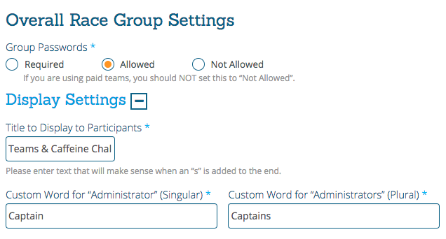 Group/Team Administrator Name