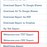 WebScorer Export Option Updated