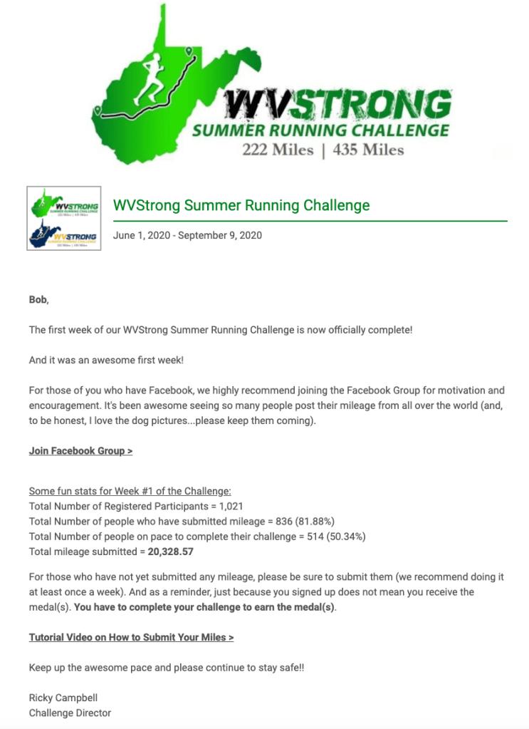 WV Strong Summer Running Challenge