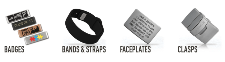 Besides the many fun badges, there are other ROAD iD accessories including bands & straps, faceplates, and clasps.