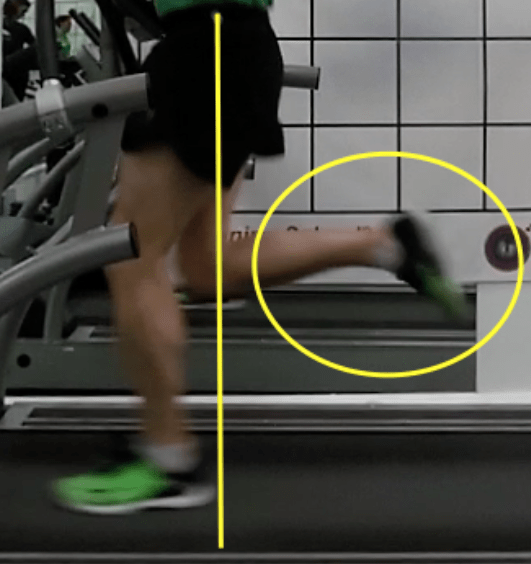 Under Hips - a view of a runner on a treadmill