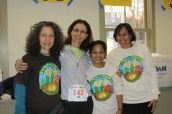 Adrienne Stone, Liz Cope, Zhara Jones, Carol Gamez manning the bib pickup.