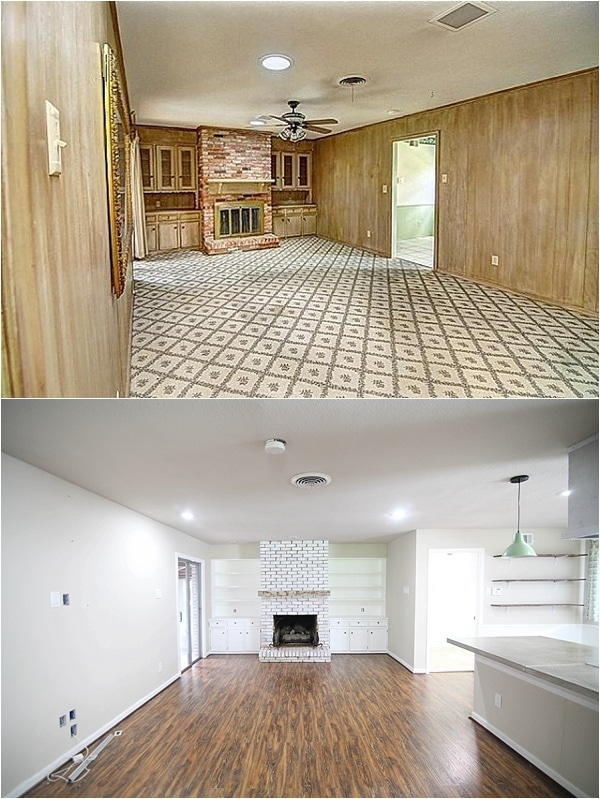 White Painted Fireplace Brick Before And After Pictures- Insane Final Pictures Of A Flip