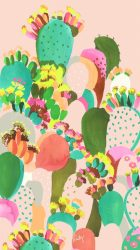 cactus girly cute backgrounds iphone painted wallpapers summer pastel pretty phone colors found