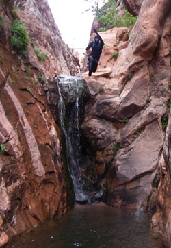Ryan jumping into a pool in Icebox Canyon