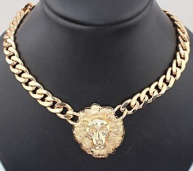 09efd789d3bd04 LION HEAD GOLD CHAIN NECKLACE