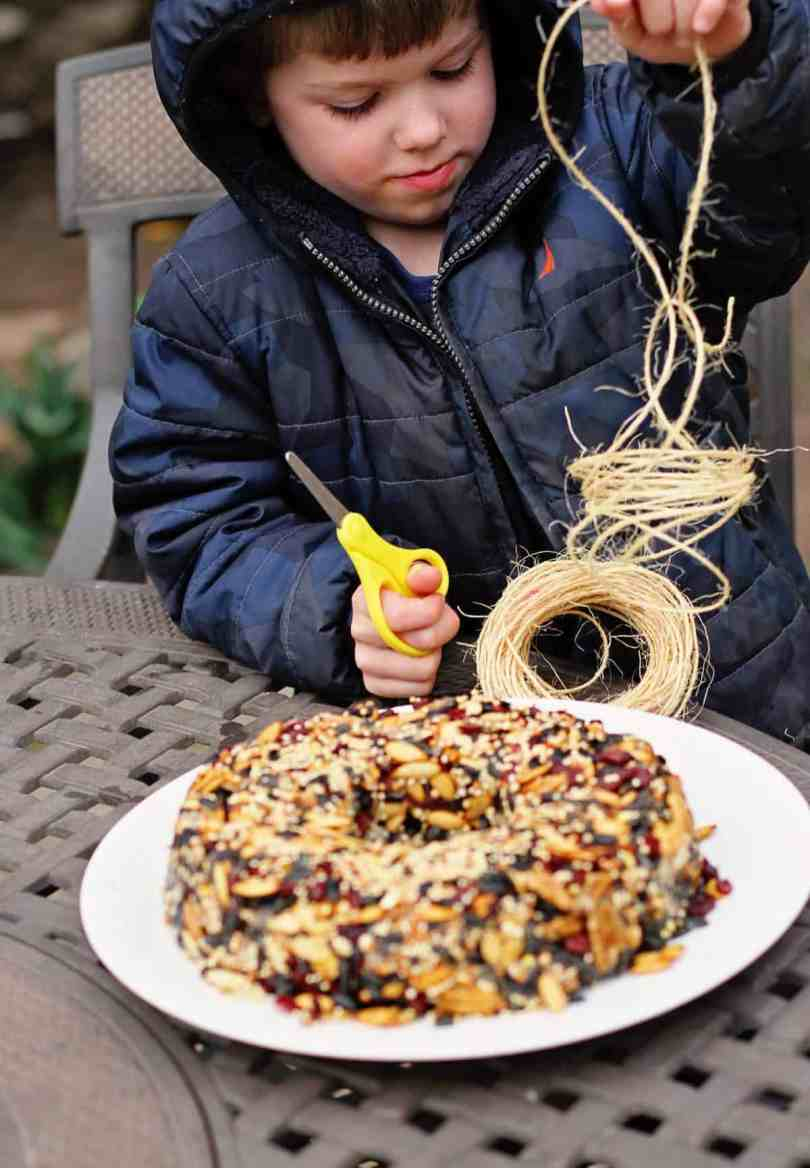 making a bird seed wreath with kids