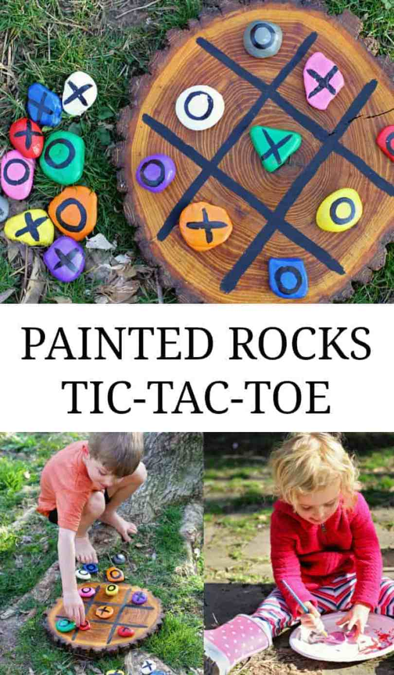 DIY painted tic-tac-toe rocks