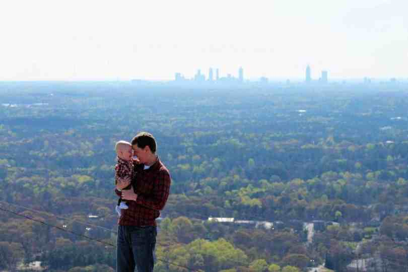 Family photos stone mountain atlanta skyline