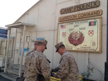 CLOSE OF FLAG CEREMONY AT CAMP PHOENIX