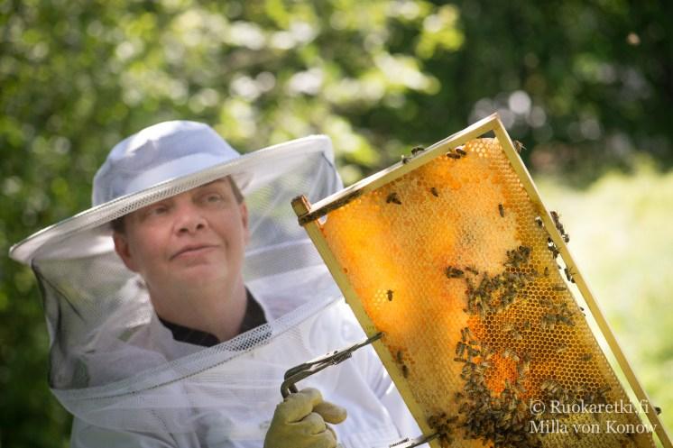 Sirpa Häiväläinen on jo kokenut mehiläishoitaja. Kuvaaja: Milla von Konow