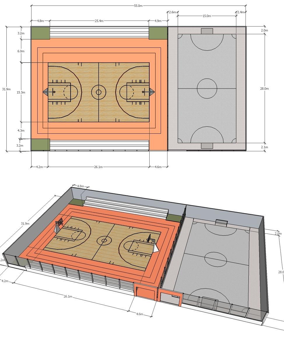 Ukuran Lapangan Futsal Biasa : ukuran, lapangan, futsal, biasa, Ukuran, Lapangan, Futsal, ARCHITECTURE