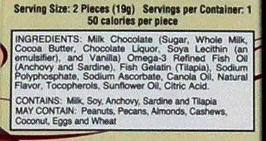 Omega-3 chocolate ingredient list