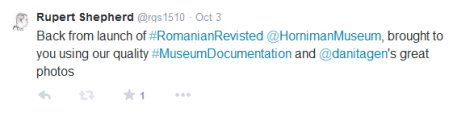 Twitter post linking exhibition to documentation