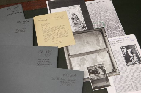 The historic dossier for NG664, Dirk Bouts, 'The Entombment', showing all the folders that comprise the dossier, with selected documents and photographs from the contents of the folders.