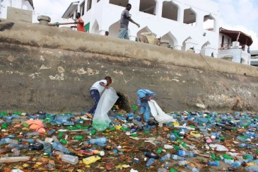 Children picking plastic bottles is from the port of Lamu. Picture courtesy Dipesh Pabari