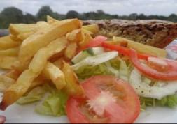 Vegetable quiche, chips and salad at Castle Forest Lodge Copyright Rupi Mangat