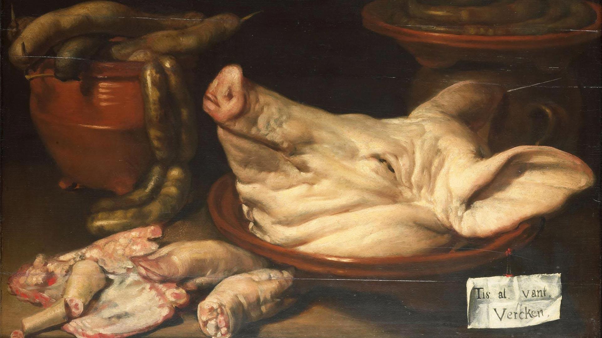Stilleven met varkenskop, varkenspootjes en worst
