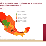 Mapa de casos confirmados a nivel nacional al 3 de mayo