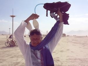 Derek Maingot accepts the Ice Bucket Challenge at Burning Man 2014