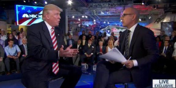 Donald Trump and Matt Lauer during candidate forum, September 7, 2016, NBC