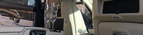 Jaguar XJL Interior with Champagne Glases