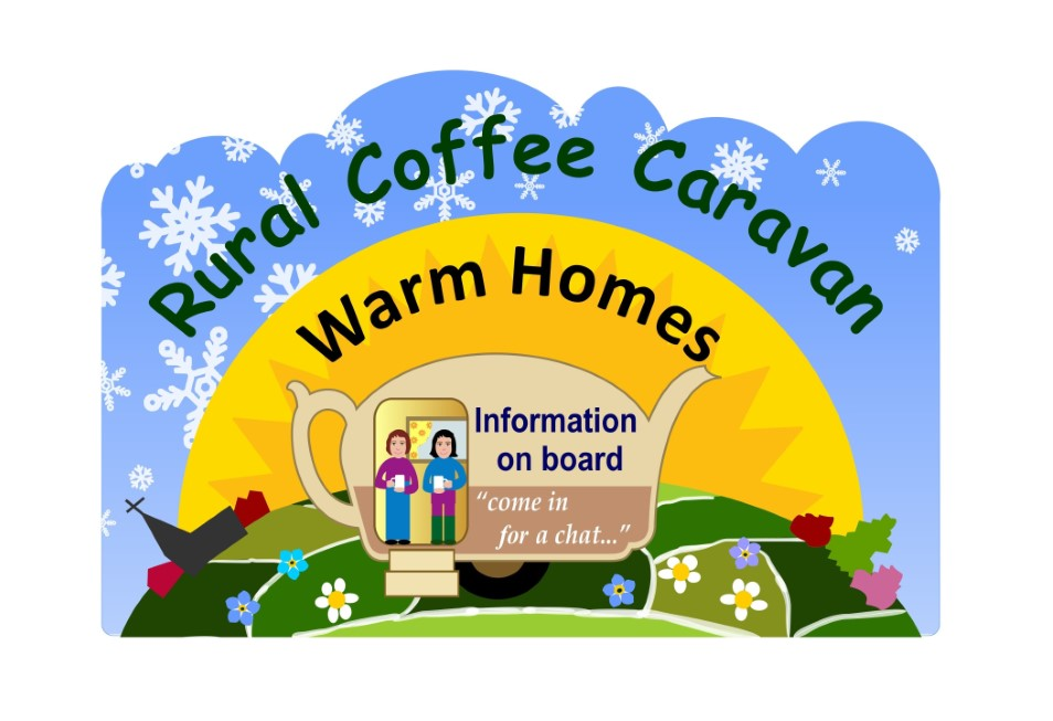 Rural Coffee Caravan Warm Homes logo picturing two people with cups of tea at the doorway of a caravan on green patchwork fields surrounded by a halo of a yellow glowing sun againast a backdrop of blue sky with white snowflakes