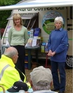 The BBC's Amelia Reynolds is pictured with The Coffee Caravan's Sally Fogden.