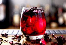 Gin com flor de hibisco