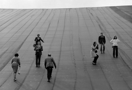 visitors inside at the empty upper reservoir