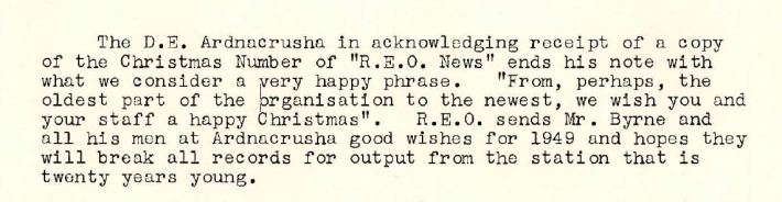 REO News, January 1949, Christmas wishes from Ardnacrusha to the Rural Electrification Scheme