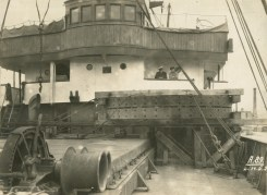 Motor section on board S.S. Ambria on arrival at Limerick docks May 1929