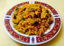 arroz con pollo y champiñones