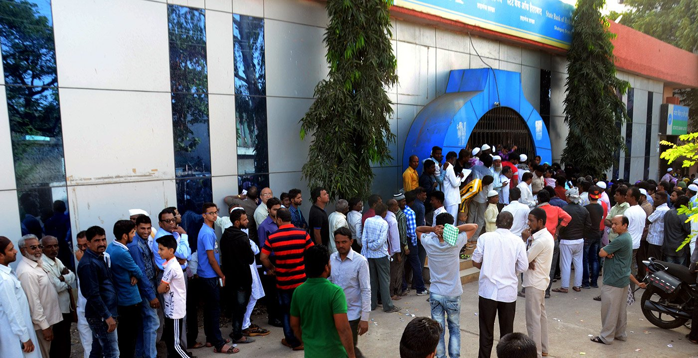 At Shaganj in the walled city of Aurangabad, the queues are long and tempers short.