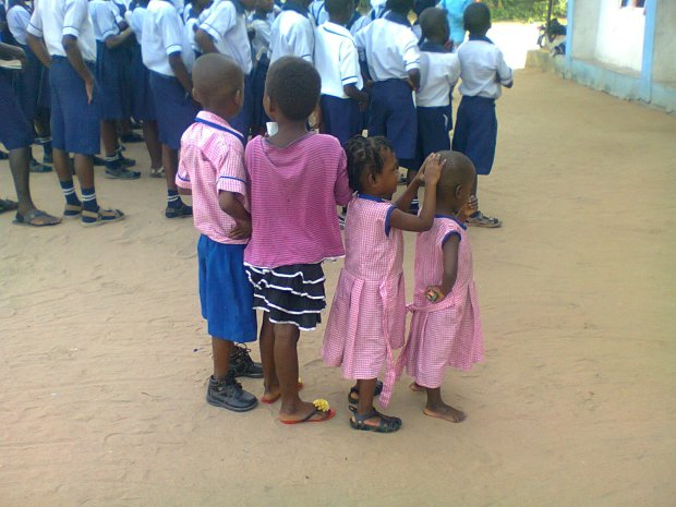 Spot the difference in their appearance: Children often attend school without footwear in some communities in Nigeria.