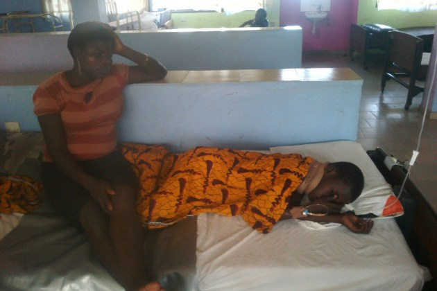 Chiezie who was hit by a vehicle while crossing the express and her mum, receiving treatment at FMC, Asaba.