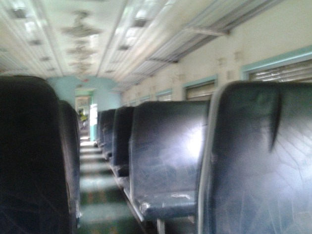 Inside one of the trains in Nigeria. Most of these train are worn out as they have not been replaced since Nigeria gained its independence from the colonial government in 1960...