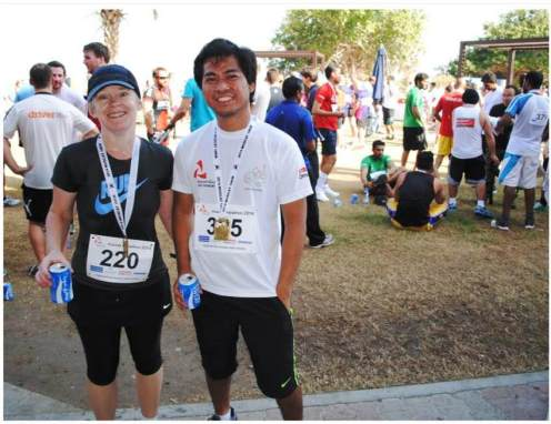 Here I am with Joey, the young man I tried to outrun in the last few meters