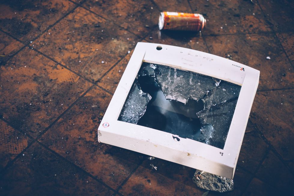 Stop Watching Porn image shows busted CRT Computer Monitor