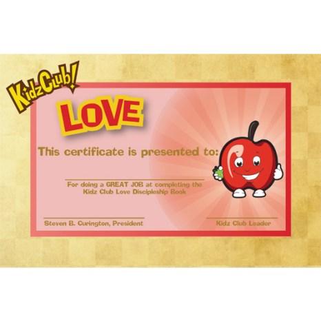 Kidz Love Certificate