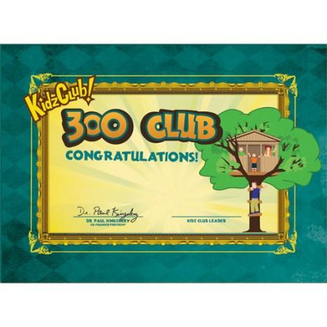 Kidz 300 Club Certificate