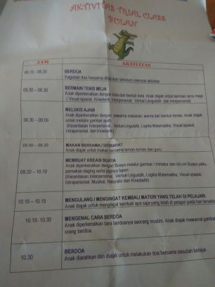 time table kelas bulan (KBl)