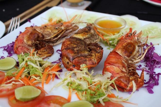 Jumbo prawns straight off the grill.