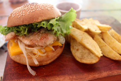 Chicken mango burger - look at the delightful onions peeking their brown edges out.