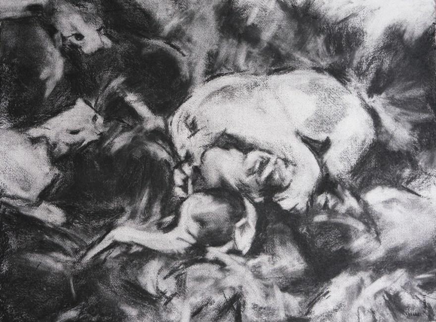 Art contemporain, sensualisme, fusain, Charcoal, Contemporary painting, #contemporaryart