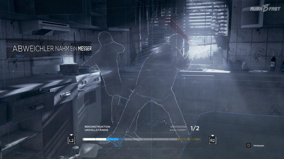 Detroit: Become Human - Die physikalische Simulationssoftware lässt uns den Mord rekonstruieren.