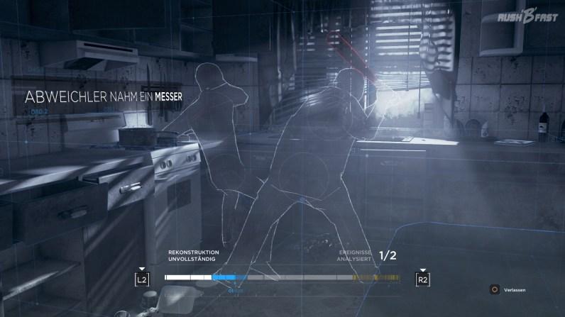 Die physikalische Simulationssoftware lässt uns den Mord rekonstruieren.